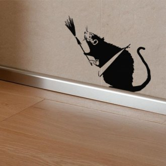Banksy Broom Rat Vinyl Wall Art Sticker