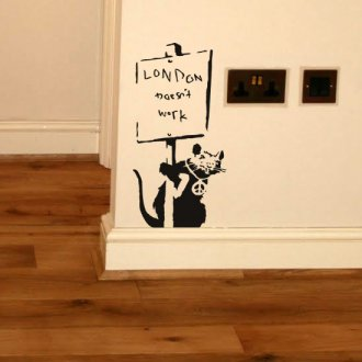 "Banksy Rat ""London Doesn't Work"" Vinyl Wall Art Sticker"