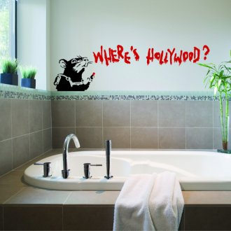 Banksy Where's Hollywood Rat Vinyl Wall Art Sticker