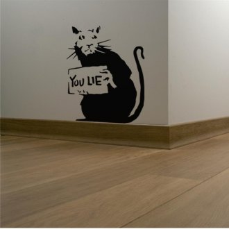"Banksy Rat ""You Lie"" Vinyl Wall Art Sticker"