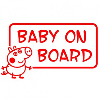 "George Pig ""Baby on Board"" Vinyl Sticker"