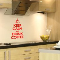 Keep Calm and Drink Coffee Kitchen Vinyl Wall Art Sticker