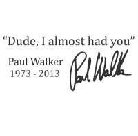 "Paul Walker ""Dude, I almost had you"" Vinyl Sticker"