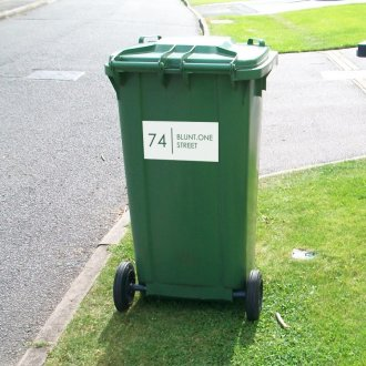 Wheelie Bin Numbers with Road Name (Rectangle)