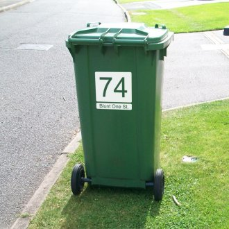 Wheelie Bin Numbers with Road Name (Square)
