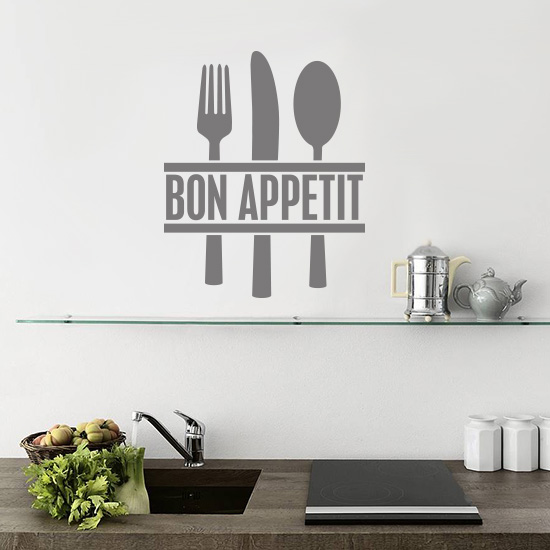 bon appetit cutlery kitchen vinyl wall art sticker - £3.99 : blunt