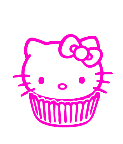 Hello Kitty Cupcake Vinyl Sticker
