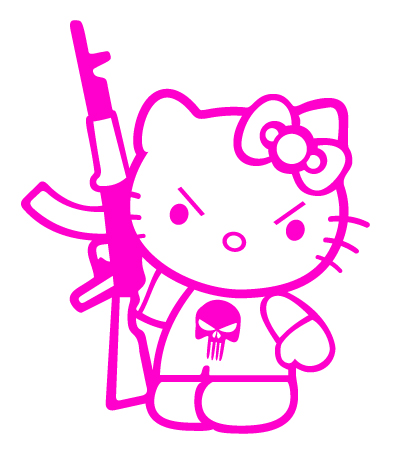 Hello Kitty Gun Vinyl Sticker