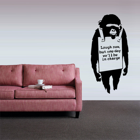 "Banksy ""Laugh Now"" Monkey Vinyl Wall Art Sticker"