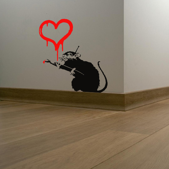 Banksy Love Rat Vinyl Wall Art Sticker