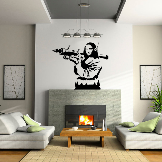 Banksy Mona Lisa Bazooka Vinyl Wall Art Sticker