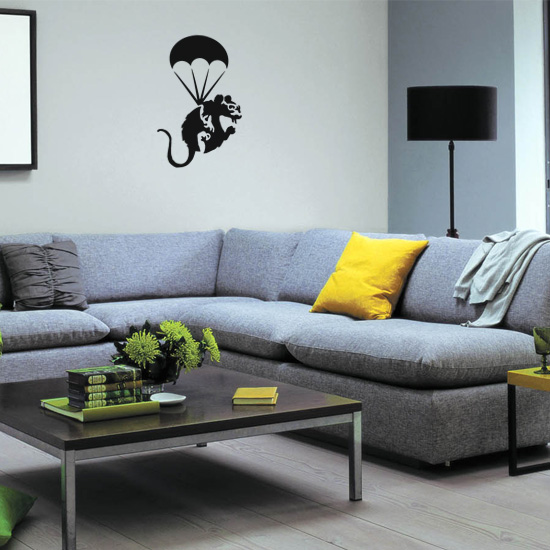 Banksy Parachute Rat Vinyl Wall Art Sticker