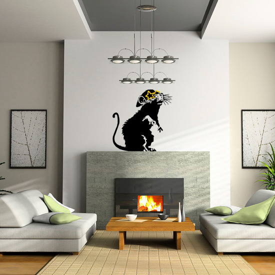 Banksy Rat with Star Glasses Vinyl Wall Art Sticker