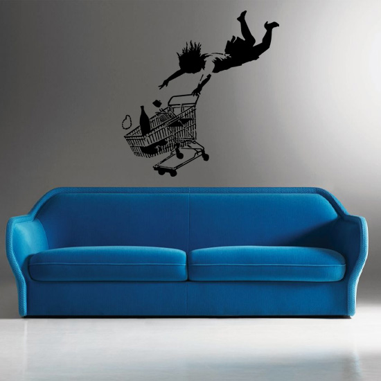 Banksy Shop Until You Drop Vinyl Wall Art Sticker