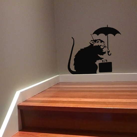 Banksy Umbrella Rat Vinyl Wall Art Sticker