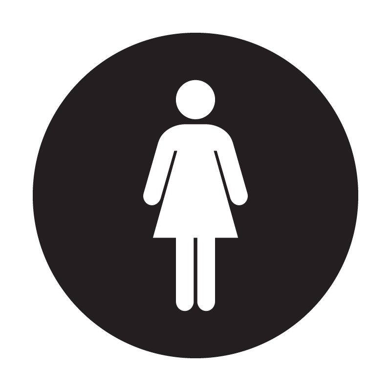 Female Circular Vinyl Toilet Sign