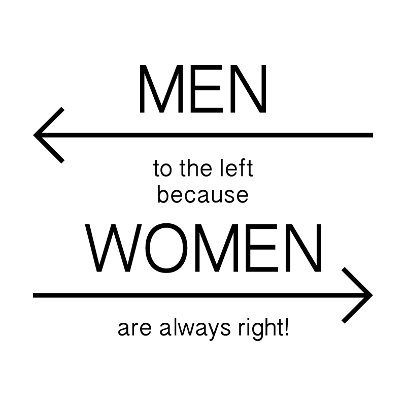 MEN to the left because WOMEN are always right Vinyl Toilet Sign