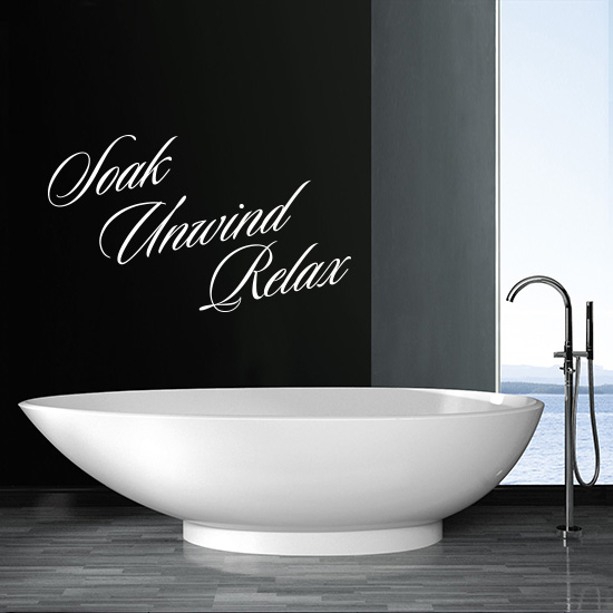 Soak Unwind Relax Bathroom Vinyl Wall Art Sticker