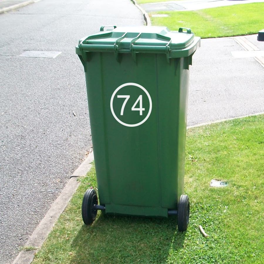 Wheelie Bin Numbers (Round Outline)